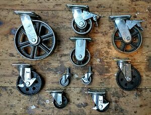 Industrial furniture metal castors with cast iron caster wheel vintage available