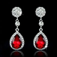 18K WHITE G/P RUBY RED & CLEAR CUBIC ZIRCONIA LONG DANGLE STATEMENT EARRINGS