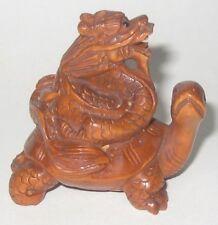 Delicate Boxwood Netsuke: Turtle Carrying Dragon