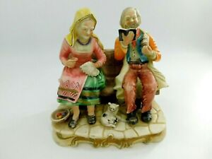 Vintage Old European Couple On Bench Figurine From Portugal