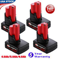 4x For Milwaukee 48-11-2460 M12 Lithium XC 6.0Ah Cordless Battery Pack Brand New