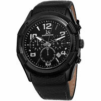 New Men's Joshua & Sons JS69BK Silver-tone Chronograph GMT Leather Strap Watch