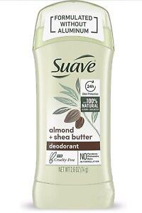 Suave Deodorant For 24-Hour Odor Protection Almond & Shea Butter Aluminum 2.6 oz