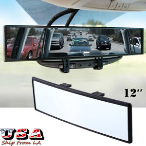 12'' Auto Wide Curve Convex Interior Clip On Rear View Mirror Extender Safe