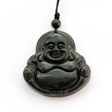 Black Green Jade Laughing Buddha Tibet Buddhist Amulet Pendant