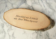 TÜRSCHILD ca.25x11cm- oval aus Eschenholz mit BORKE - mit Ihrer WUNSCHGRAVUR