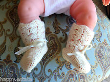 VINTAGE BOOTIES 1950s HANDMADE WOOL for BABY or LARGE DOLL in CREAM, OFF-WHITE