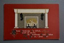 R&L Postcard: Christmas Real Fireplace Stcokings, Art Nouveau, Blodgett Boston