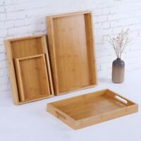 Bamboo Serving Tray with Handles for Breakfast Party Decor Ottoman Large Wood