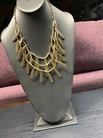 """Vintage signed Talbots Gold Tone 3 Strand Textured Charm Statement Necklace 18+"""""""