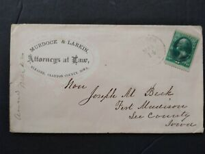 Iowa: Elkader 1870s Murdock & Larkin Attorney Allover Advertising Cover