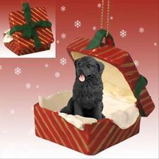 Newfoundland Dog RED Gift Box Holiday Christmas ORNAMENT