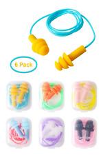 Silicone Earplugs, 6 Pack Waterproof Silicone Gel Corded String Ear Plugs Spiral