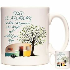 CARAVAN MUG, Can Be Personalised. Matching Coaster Available. Caravanners Gift