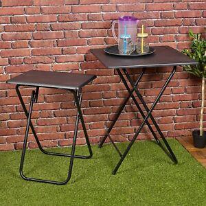Folding Side Table Patio Indoor Outdoor Furniture Coffee Drink Summer Metal Legs