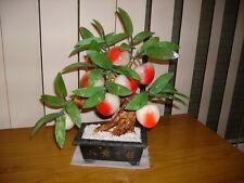 Vintage Carved Jade & Peking Glass Peach Bonsai Tree c1960's-1970's