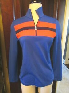 NWT GOLFINO Royal Blue Retro Sport Troyer Golf Shirt 38 6 MEDIUM Long Sleeve