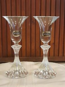 """2 Mikasa Crystal Clear Candle Holders """"The Ritz""""  Elegant W. Germany Crystal"""