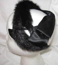 Vintage Skating Hat Headband Fascinator Black Fur Black Satin Bow