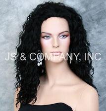Human Hair Blend Wig  Long wavy Jet Black Heat Safe ara 1