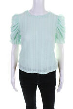 Moon River Womens Puff Sleeve Top Mint Green Size Small
