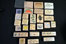 25 WOOD RUBBER STAMPS & INK LOT