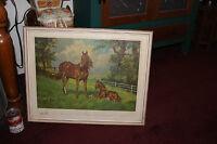 Vintage Ignace Konrad Print Horses Mare Foal Switzerland Stehli Freres No.1657