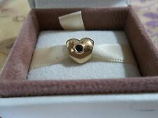 Genuine Authentic Pandora 14ct Gold & Sapphire Puffed Heart Charm 750294SA RARE