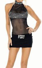2243 - Sexy short black mini dress with netted centre & diamanté foxy belt Sz 8