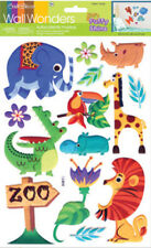3D PUFFY JUNGLE ANIMALS wall stickers 13 decals sparkle room decor giraffe Zoo