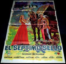1957 The Seventh Seal ORIGINAL SPAIN 60' POSTER Ingmar Bergman Amazing JANO Art!