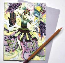 DANCING LADY CARD, disegnato, stampato nel Regno Unito, Compleanno Bianco Saluti BELLYDANCE
