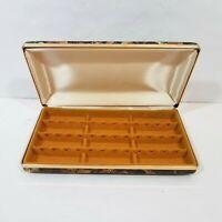 Vtg MELE Jewelry Earring Box Hardcase Hinged Organize Travel Tortoise Black Gold