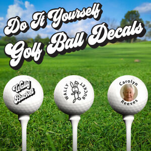 DO IT YOURSELF Personalised Golf Ball Decal System uses photo & text - 21 decals