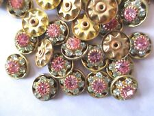 36 Swarovski Rhinestone Flower Components - Peridot & Rose - 9mm  - Brilliant !