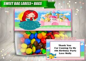 4 Personalised PRINCESS ARIEL Fold Over Cards & Bag Birthday Party Favours