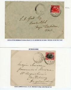 Malaya 1914 & 1919 Pair of Attractive Covers with 4c Stamps, LOOK!