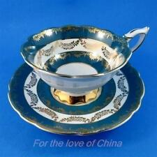 Teal Green with Gold Swag Royal Stafford Tea Cup and Saucer Set