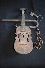 Genuine antique metal iron? Decorated Fiddle Lock with original key 19th century