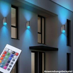 Design RGB LED Wand Leuchte Außen Up Down Strahler Garten Lampe Fernbedienung