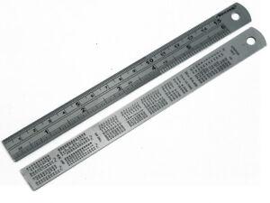 Nielson 15.2cm 150mm Inoxydable Règle Conversion Table Sur Arrière Paquet De 5