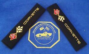 2pcs/set Universal Cotton Seat belt Shoulder Pads covers emblems for Corvette C3