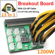 1200W Breakout Board W Button For HP PSU GPU Mining Ethereum + 12x 8Pin Cable US