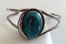 VINTAGE PAWN SILVER NAVAJO NATIVE AMERICAN TURQUOISE CUFF BRACELET P8