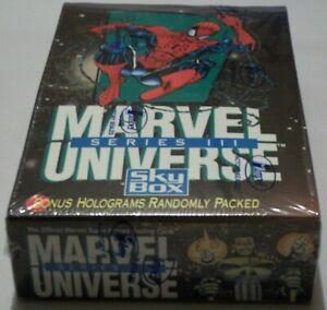 SkyBox 1992 Marvel Universe Series#3 Sealed Box 36 Packs w Hologram Insert Cards