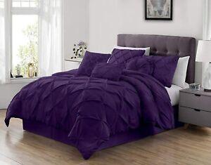 Dark Purple Pintuck Pinch Pleat 7 pc Comforter Set Twin Full Queen Cal King Bed