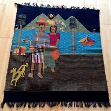 Vintage~ Mexican Folk Scene~Family with Dog~Beautiful Colors~ Wall Hanging