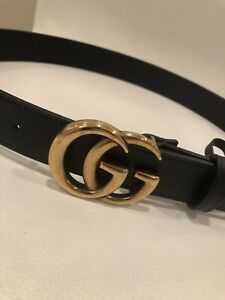 """GUCCI Leather Belt Slim Double GG Buckle, Black/Gold, Authentic, 95cm/38"""" - NEW"""