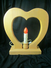 Country Primitive Wood Valentine Heart Electric Candle Lamp Table or Window