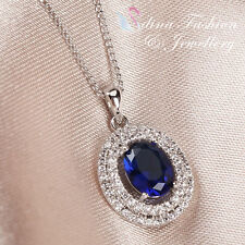 18K White Gold Plated Made With Swarovski Crystal Oval Sapphire Halo Necklace